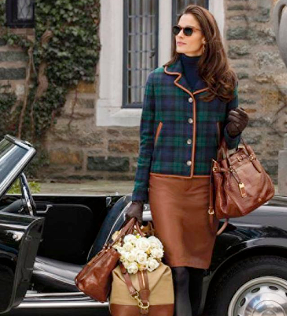 Ideal Outfit With Ralph Lauren Brown Leather Pencil Skirt And Blackwatch Tartan Blazer