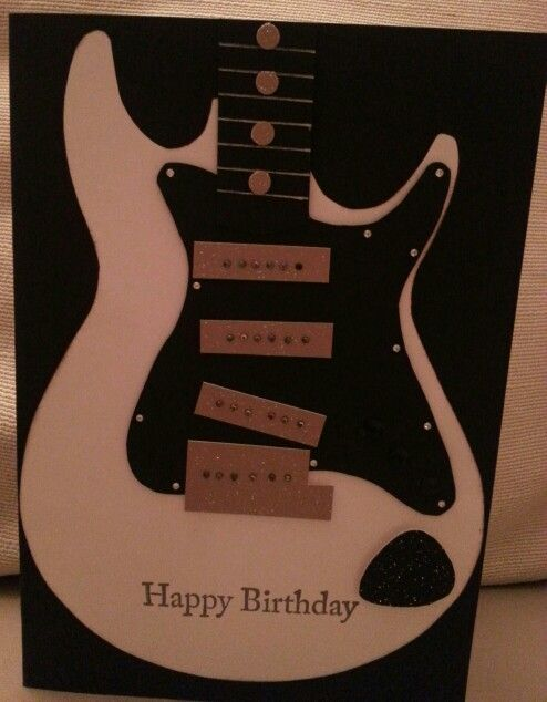 Electric Guitar With Pick Birthday Card Great For Musicrock Lovers