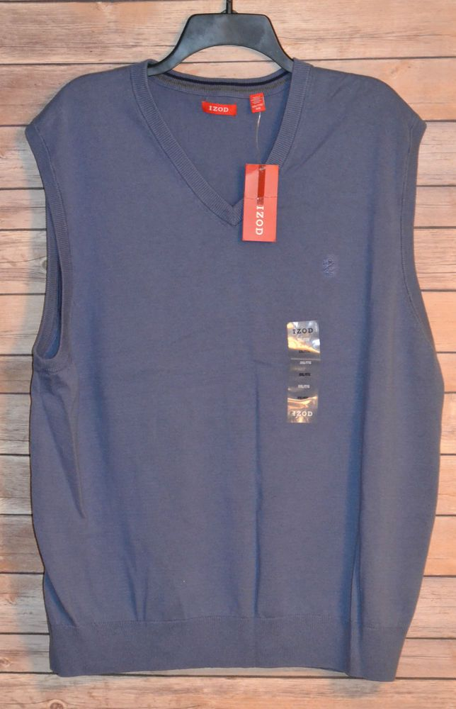 MENS IZOD V-NECK GOLF SWEATER VEST SIZE: 2XL COLOR: LIGHT BLUE ...