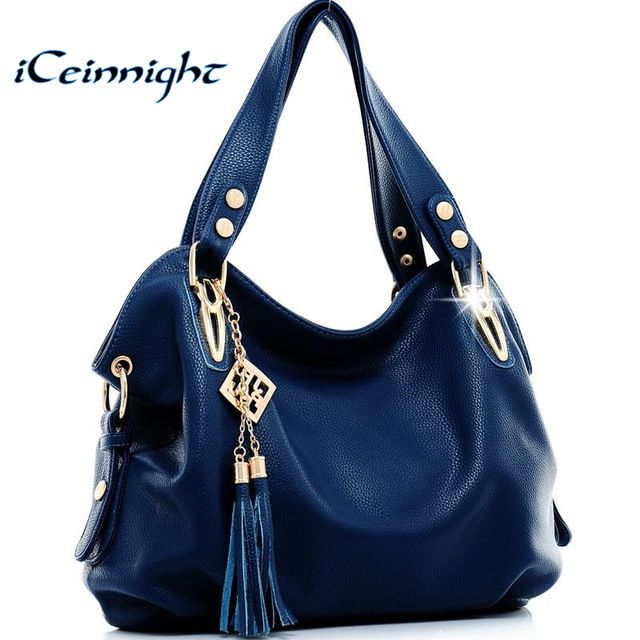 iCeinnight New 2017 fashion women leather handbags messenger clutch shoulder bags vintage tassel bags Bolsas Femininas ladies