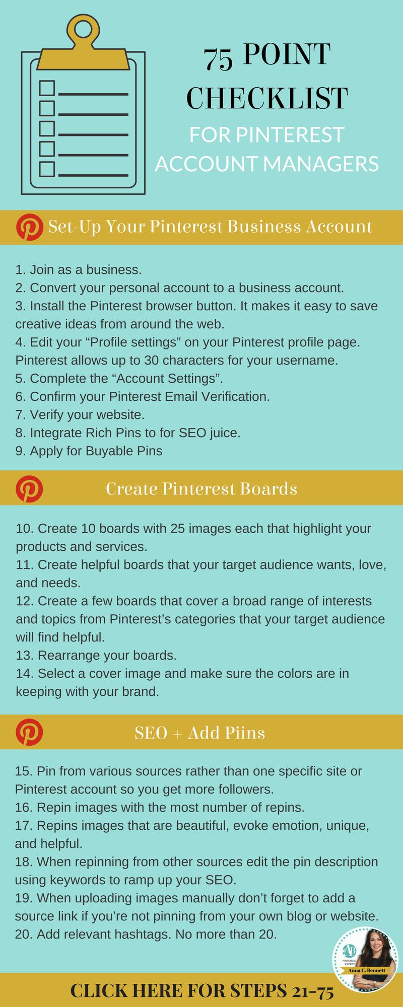 Social Media Marketing Master Pinterest For Your Business 75 Point Pinterest For Business Pinterest Marketing Business Pinterest Marketing Expert