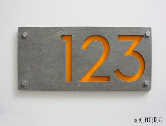 Modern house numbers rectangle concrete with yellow for Location plaque garage
