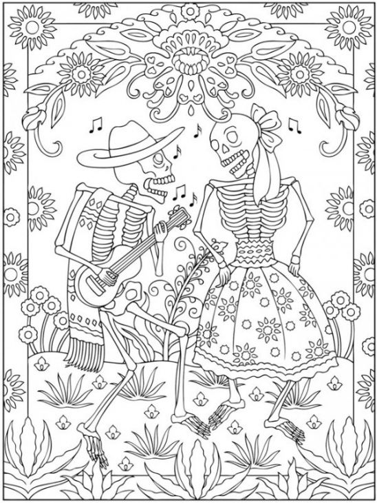 Mexican Day Of The Dead Coloring Page For Grown Ups | Holiday ...