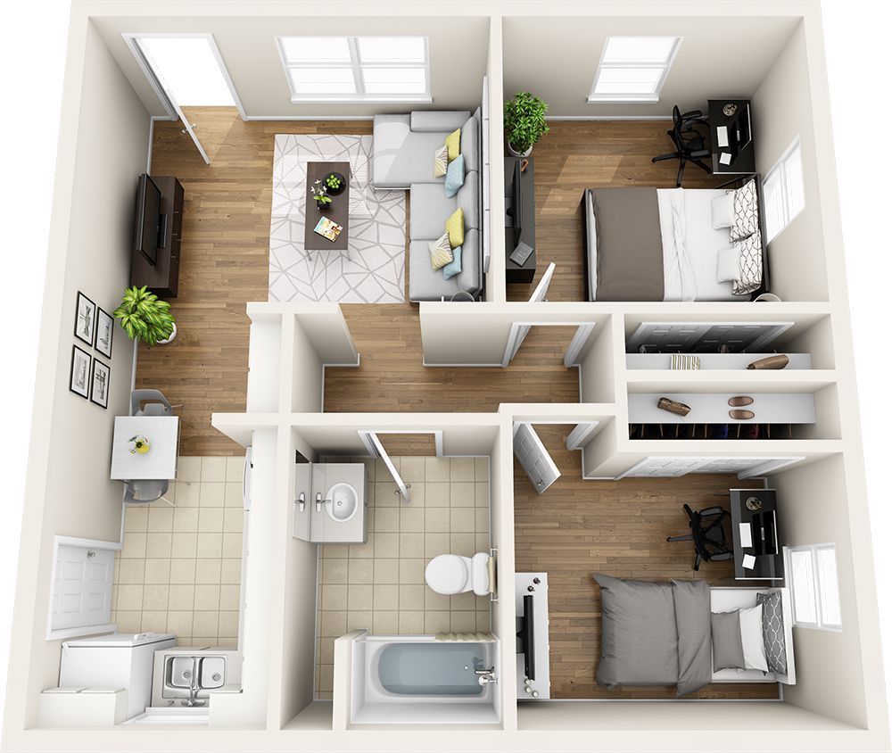 2 Bedroom Small Apartment Floor Plans Small House Design Plans Home Design Floor Plans