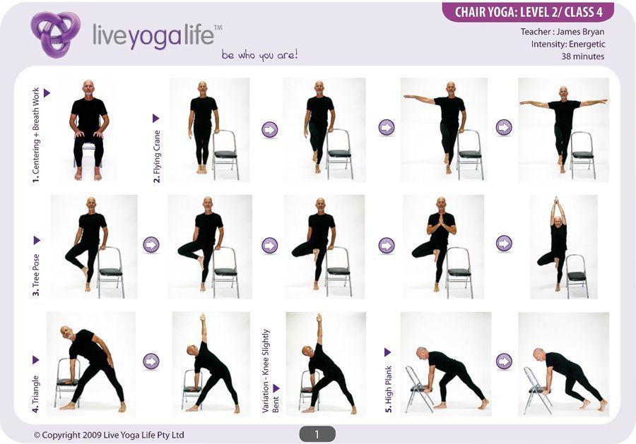 Printable Chair Yoga Poses Level 2 Yogaroutinesandposes Chair