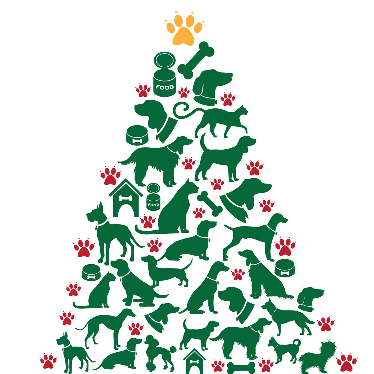 Tree Of Pet Shapes Cat Christmas Tree Christmas Tree Images Christmas Cats