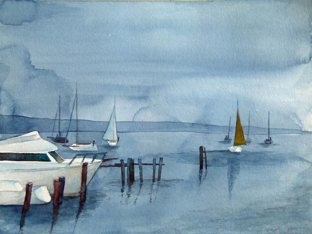 Schiffe und Boote als Aquarell   Aquarell, Bilder und ...