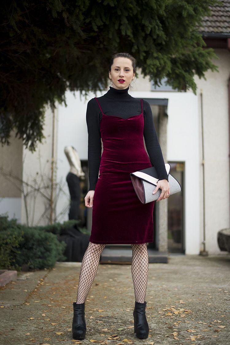 5274452dbbdfe1 Wine Red Spaghetti Straps Velvet Dress Fishnet Stockings | my daily ...