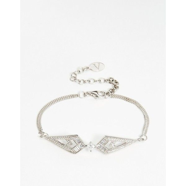 V Jewelry Wira Sparkle Bracelet (12.135 RUB) via Polyvore featuring jewelry, bracelets, silver, v jewelry, adjustable bangle, sparkle jewelry and chain jewelry