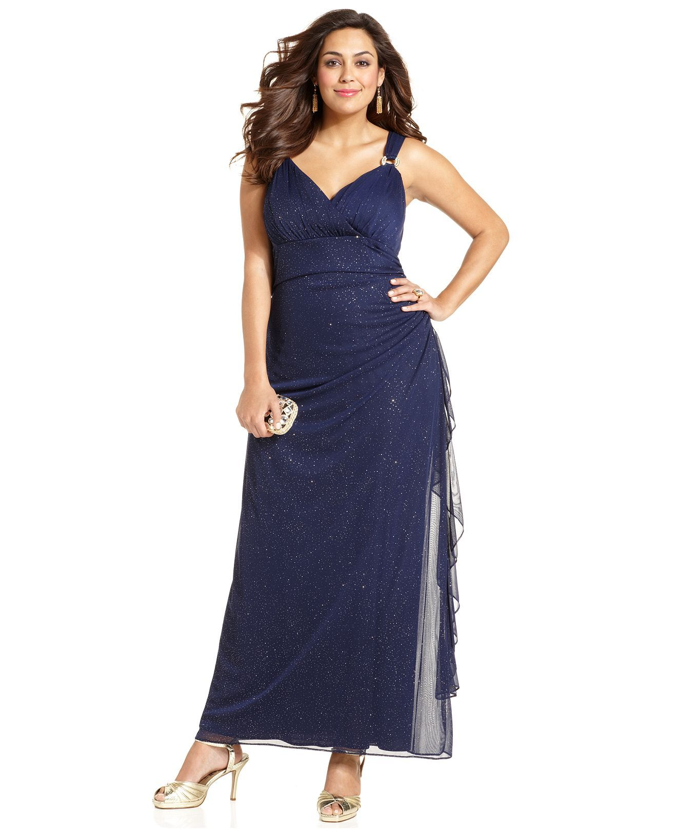 Betsy & Adam Plus Size Dress, Sleeveless Shimmer Gown ...