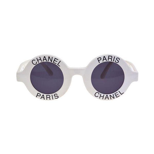 c36b4b3e1a9 CHANEL CHANEL PARIS LOGO FRAME WHITE SUNGLASSES found on Polyvore ...