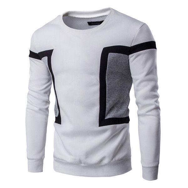 WYTong Mens Sweatshirt Casual Sportwear Pullover Fashion Patchwork Slim Fit Hoodie Outwear Blouse With Pockets