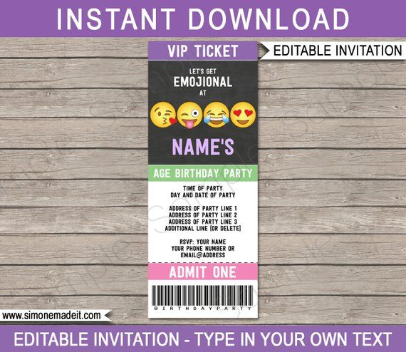 Emoji Ticket Invitation Template Birthday Party Printable Invite Emoticon Emojional
