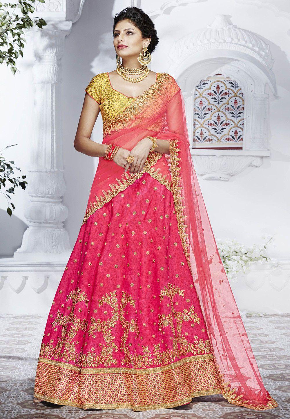 7602e50de1 Buy Embroidered Handloom Art Silk Lehenga in Fuchsia online, Item code:  LQM152, Color: Pink, Occasion: Wedding, Work: Resham, Stone Work,  Traditional, Zari, ...