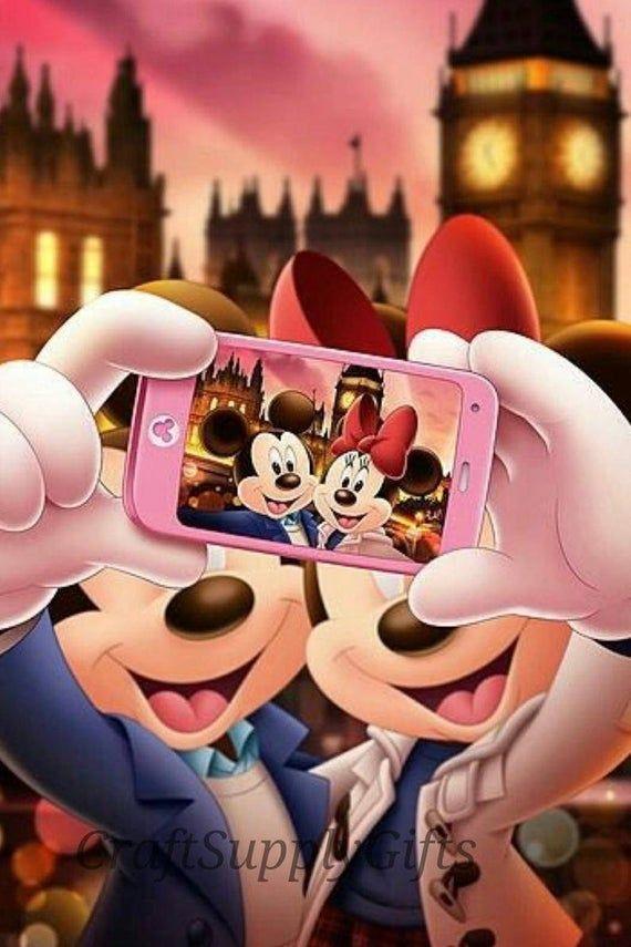 5D Diamond Painting Selfie Mickey & Minnie Mouse DIY Full Round/Square Cross Stitch Cartoon Diamond