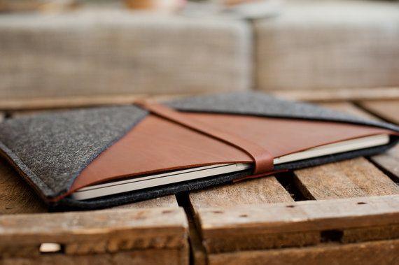 MacBook Bag Rough Edge leather wool felt universal par TheNavis