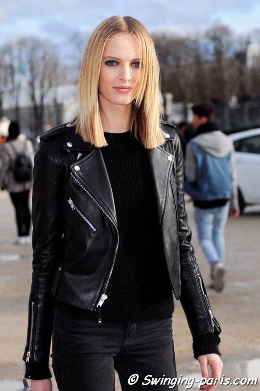 The Russian model Daria Strokous leaving Elie Saab show