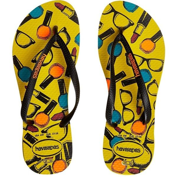Havaianas Slim Cool Flip Flops Women's Sandals ($28) ❤ liked on Polyvore featuring shoes, sandals, flip flops, havaianas, flip flop sandals, slim shoes, flip flop shoes and cushioned shoes