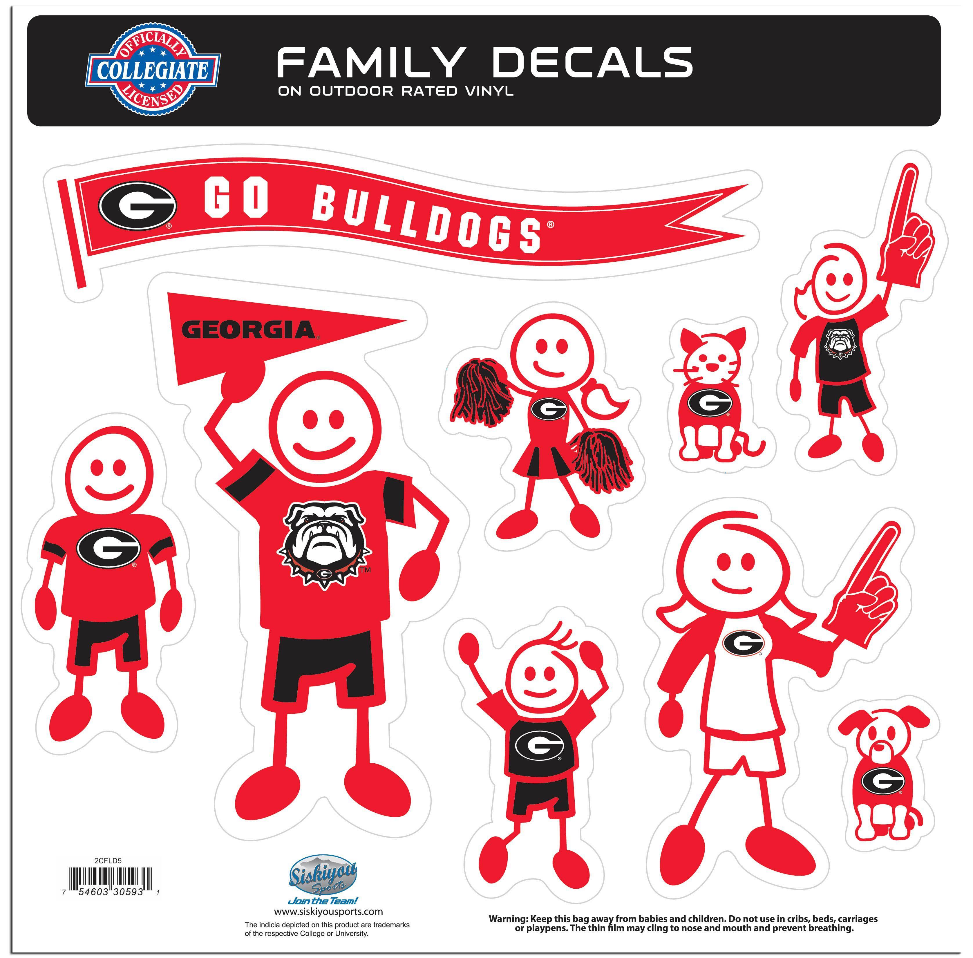 Georgia Bulldogs Large Family Decal Set In 2020 Family Decals Georgia Bulldogs Team Sports Gifts