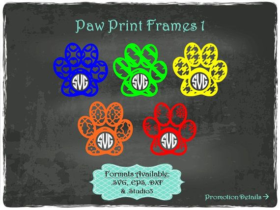 Paw Print Frames 1 in .SVG .EPS .DXF & .Studio3 by TheSVGFontStore
