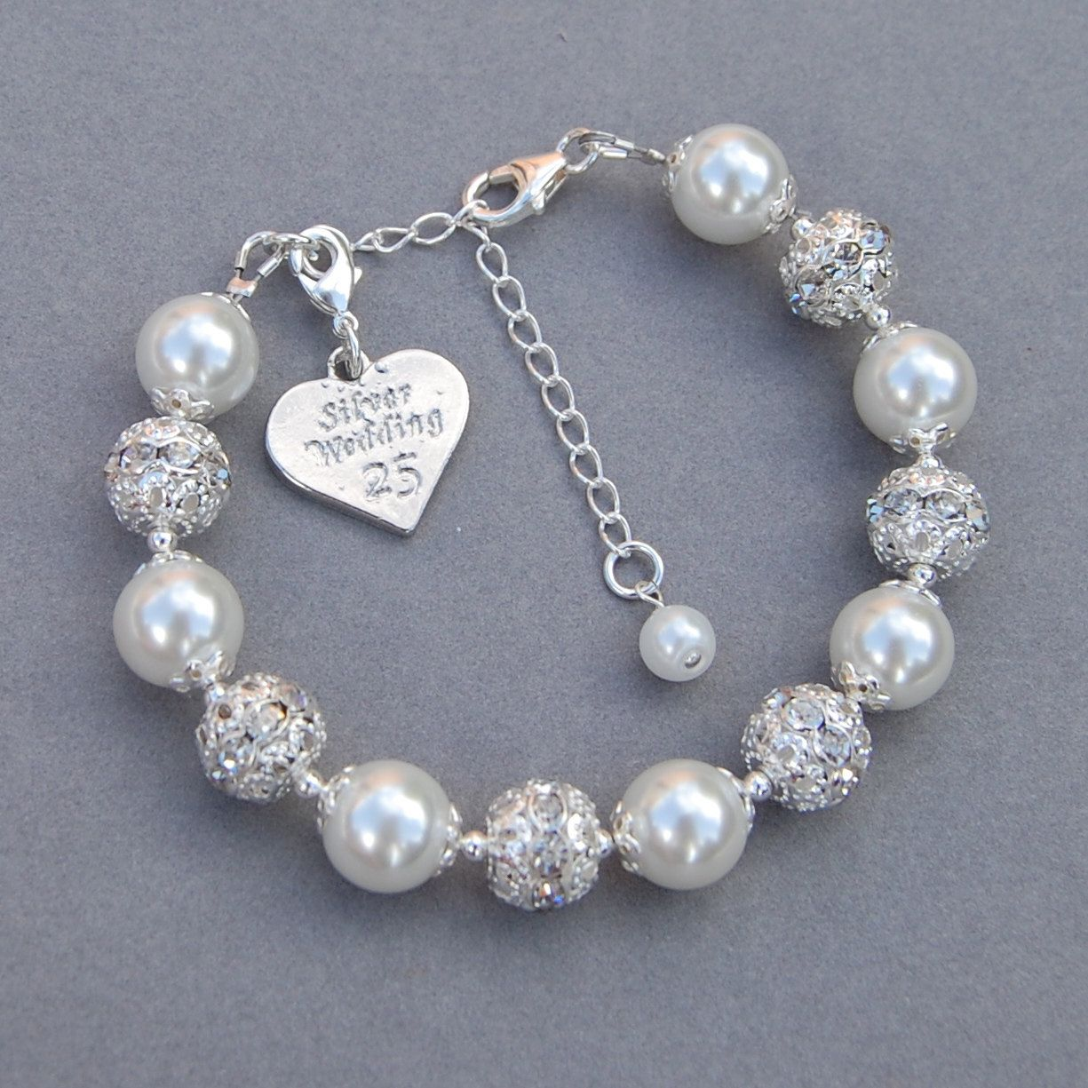Silver Wedding Gift Anniversary Charm Bracelet 25th By Amidesigns On