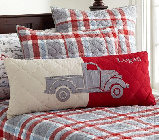 Charlie Plaid Quilted Bedding | Pottery Barn Kids | Boys room ... : boys plaid quilt bedding - Adamdwight.com