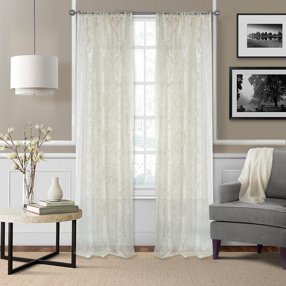 Elrene Montego Burnout Trellis Sheer Window Curtain 21194ivr