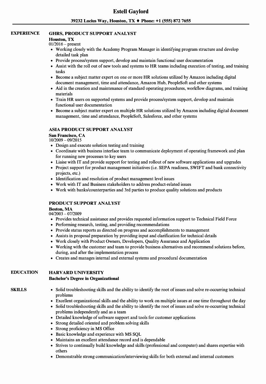 Application Support Analyst Resume Lovely Product Support Analyst Resume Samples Project Manager Resume Registered Nurse Resume Resume Examples