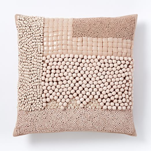Mixed Beaded Pillow Cover Blush Beaded Pillow Decorative