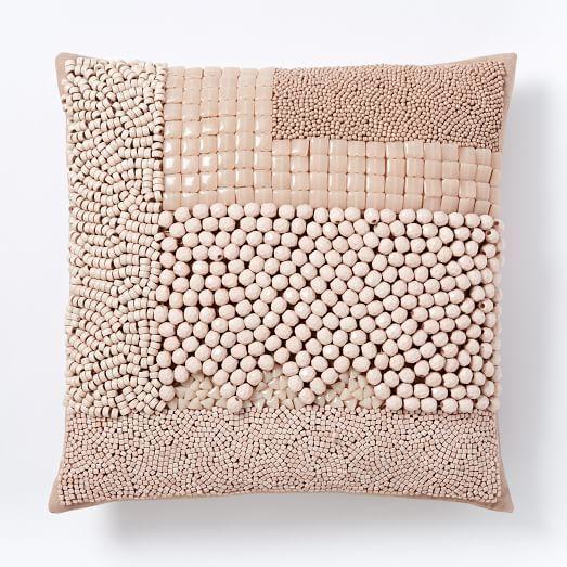 Mixed Beaded Pillow Cover Blush Beaded Pillow Decorative
