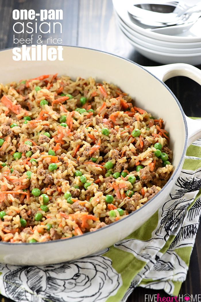 Asian Beef Rice Skillet A Quick And Easy Dinner Recipe Requiring A Simple List Of All Natural Ingredients Dinner Recipes Easy Quick Asian Beef Beef Dinner