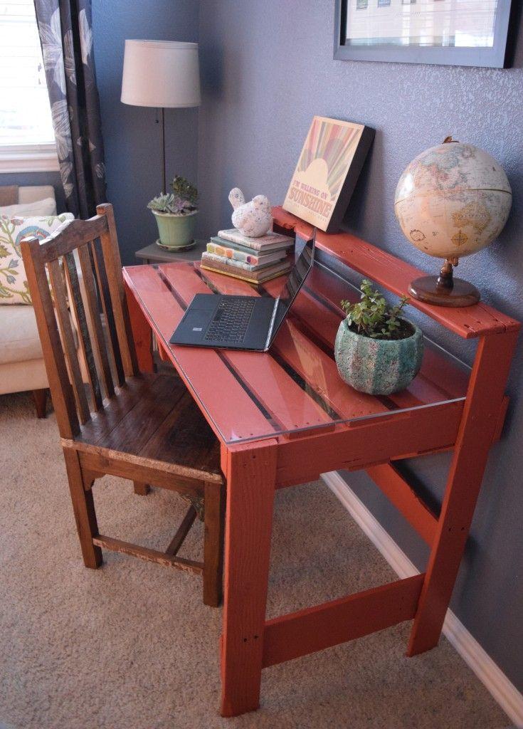 Diy Pallet Desk Pallet Diy Diy Desk Plans Pallet Desk