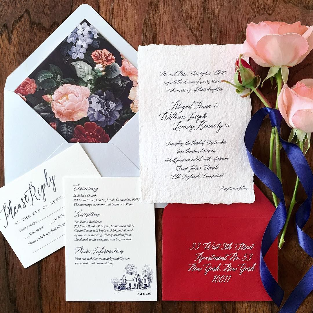 Custom wedding invitation set, floral print, pastel pink roses, navy ...
