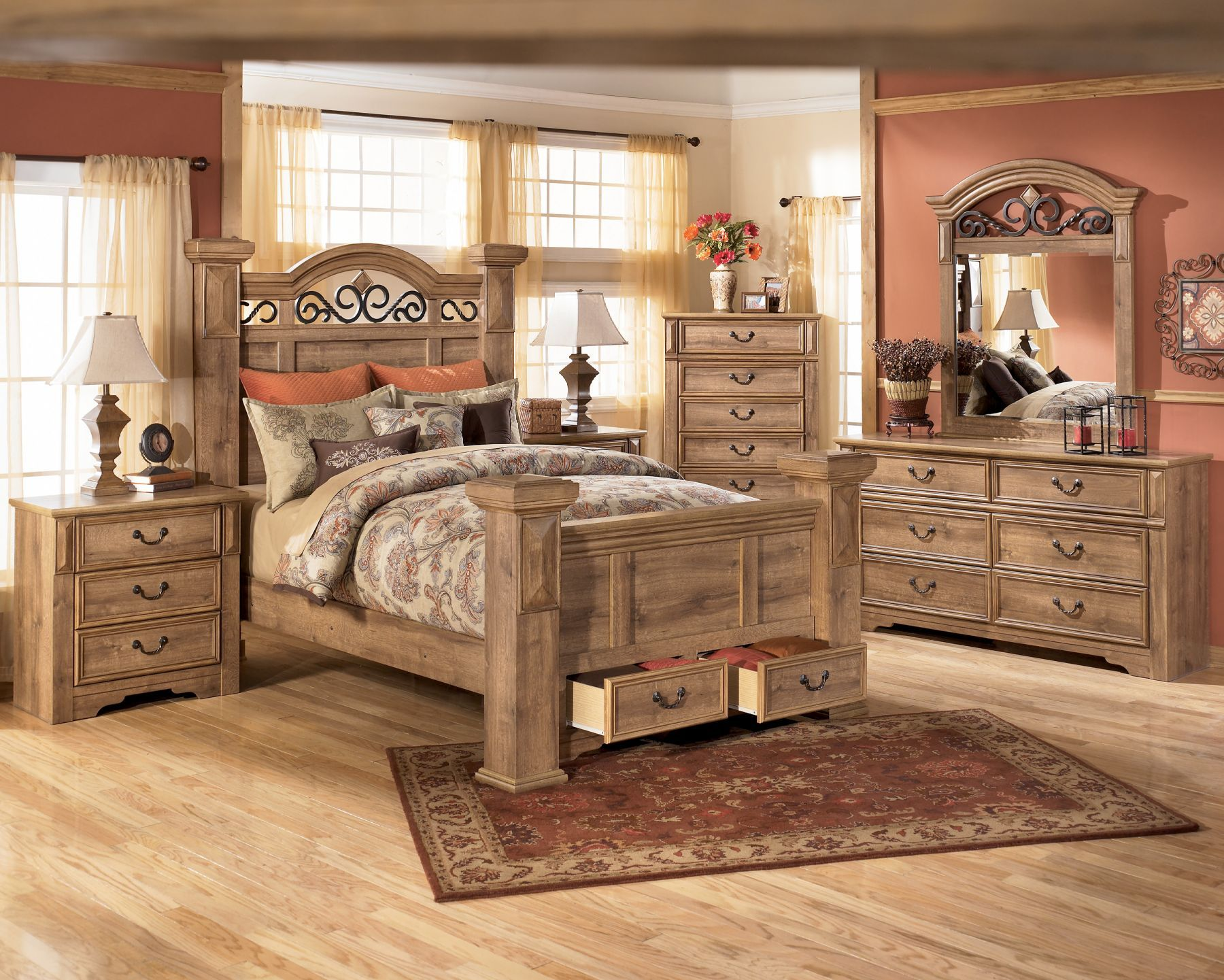 Best Ashley Whimbrel Forge King Bedroom Suite Rustic Bedroom 400 x 300