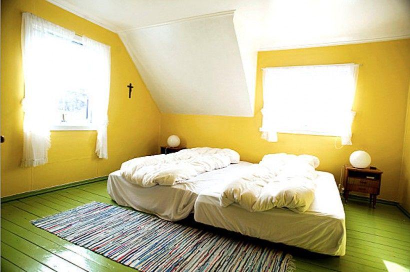 Bedroom : Yellow Green Bedroom Twin Bed Green Solid Hardwood ...