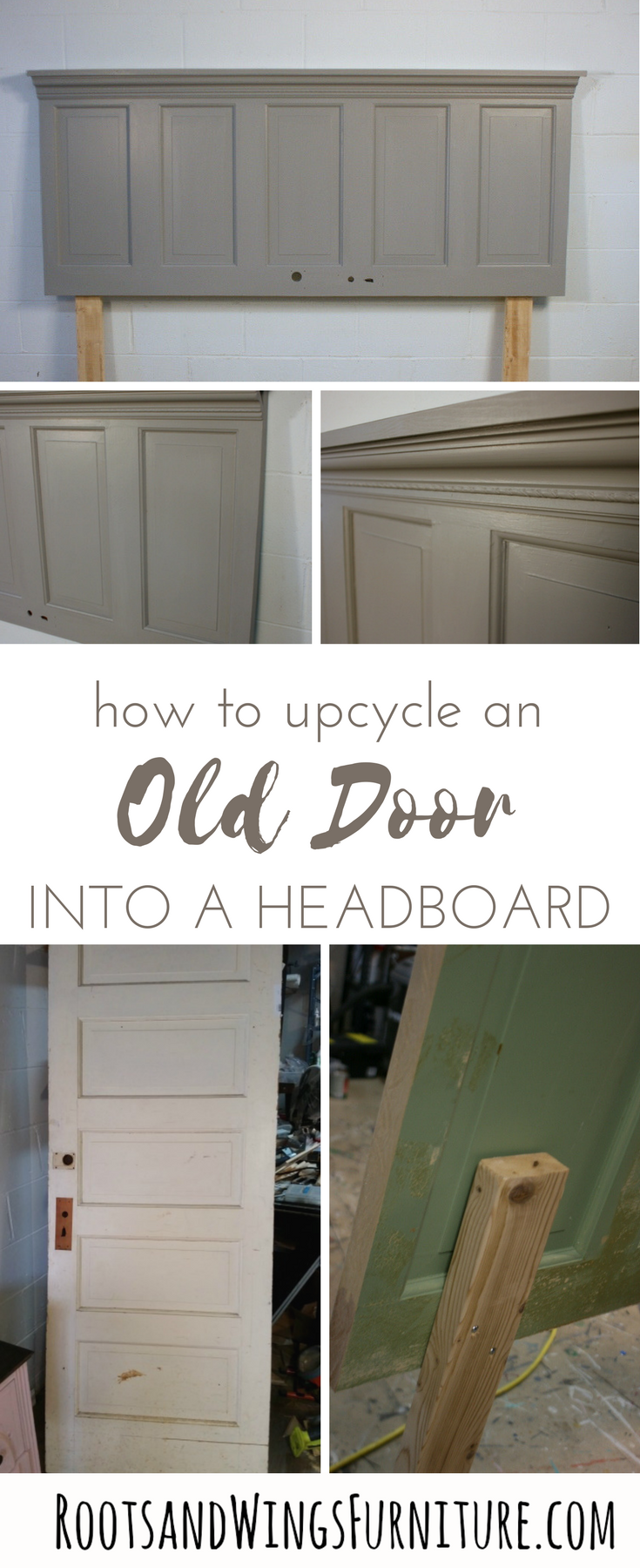 How to's : Upcycle an old door into a headboard with this easy DIY project.  Add lots of character in no time.  Tutorial by Jenni of Roots and Wings Furniture.  #rootsandwingsfurniture #door #olddoor #headboard #diy #tutorial #instructions #bedroom #bed #buildit #upcycled