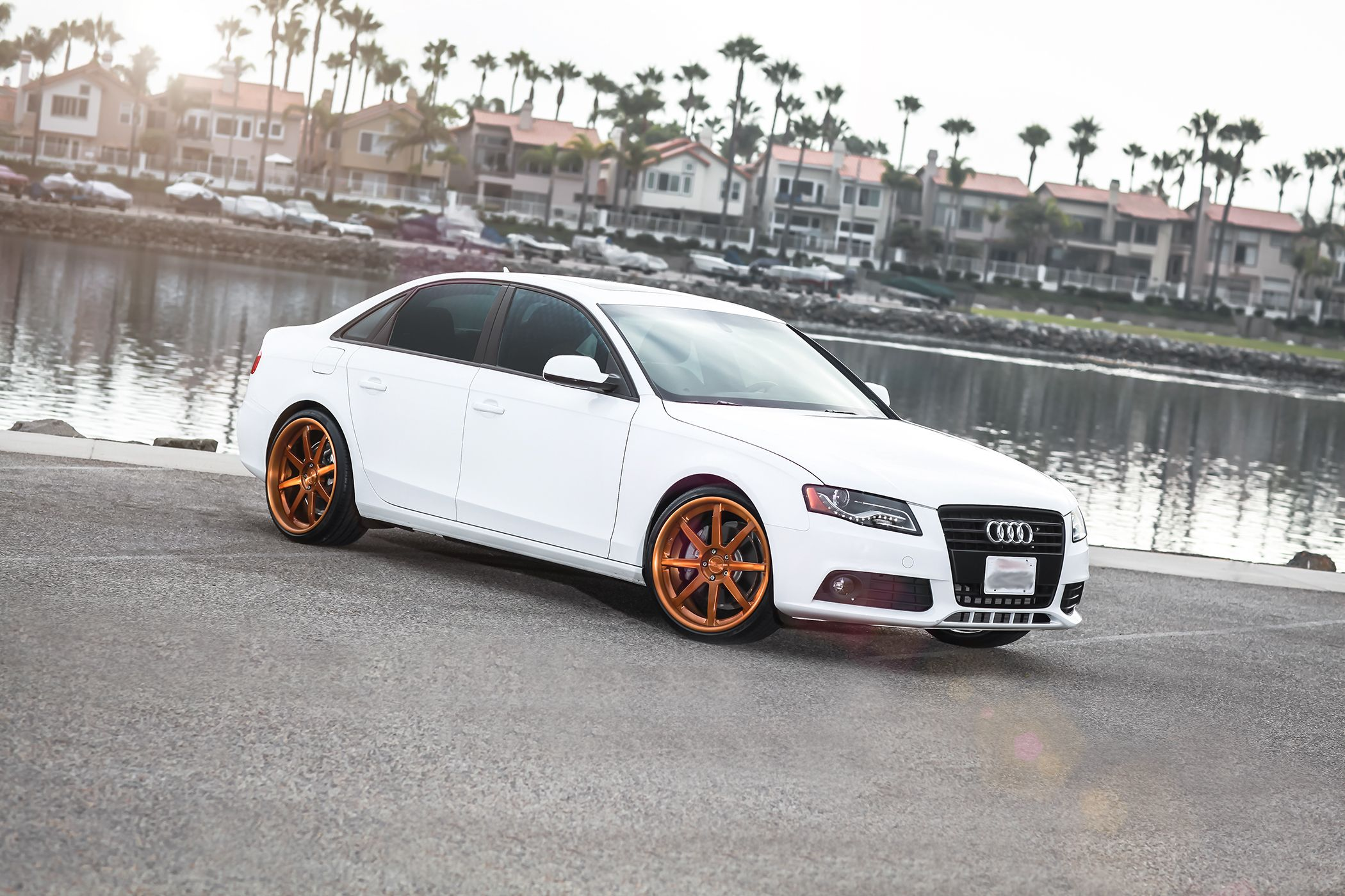 2009 White Audi S4 With Copper Niche 3 Piece Vector Wheels Staggered 20 Inch