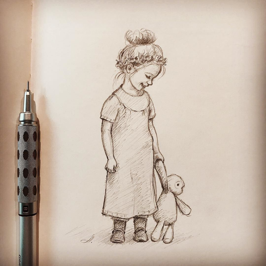Wolf Drawings Girl Pencil Sketching Quick Sketch Little Illustrations Book Drawing