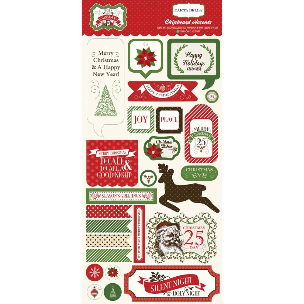 Have A Merry Christmas Chipboard Stickers Carta Bella Reindeer Poinsettia Santa Happy Holidays Silent Night Joy Peace Labels Christmas Eve by InkyHotMess on Etsy