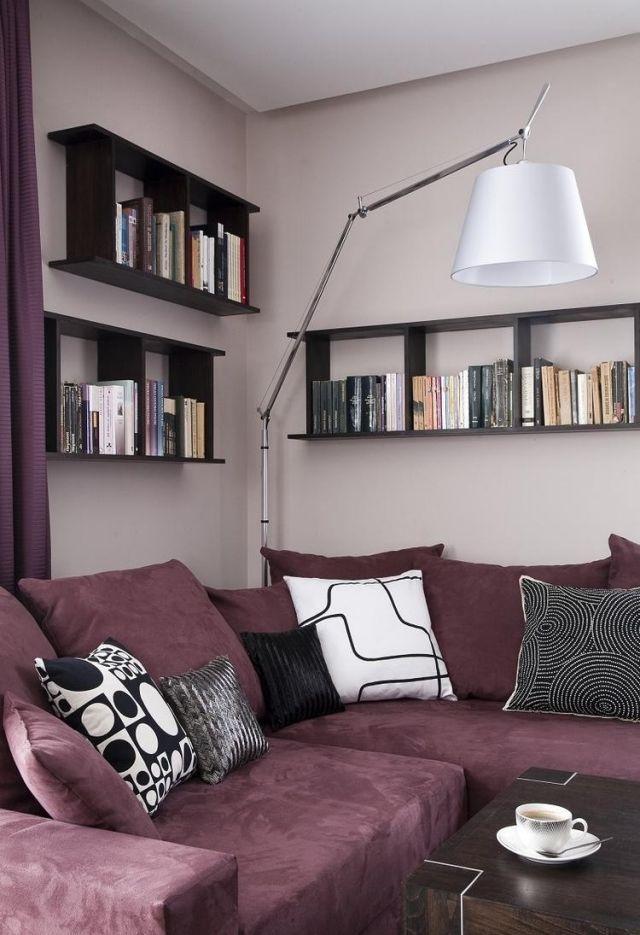 Ideen Fürs Wohnzimmer Streichen Flieder Wandfarbe Polster Ecksofa