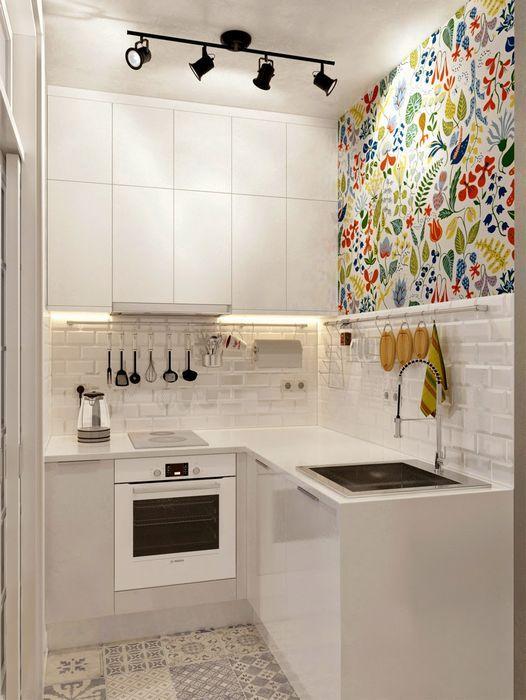 Белые фасады мебели на маленькой кухне   Дизайн   Pinterest   Diseño ...