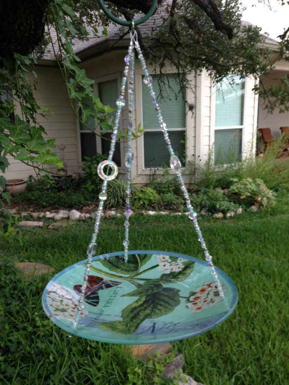 Vintage Style Beaded Glass Bird Feeder by HappyChickCreations, $18.00