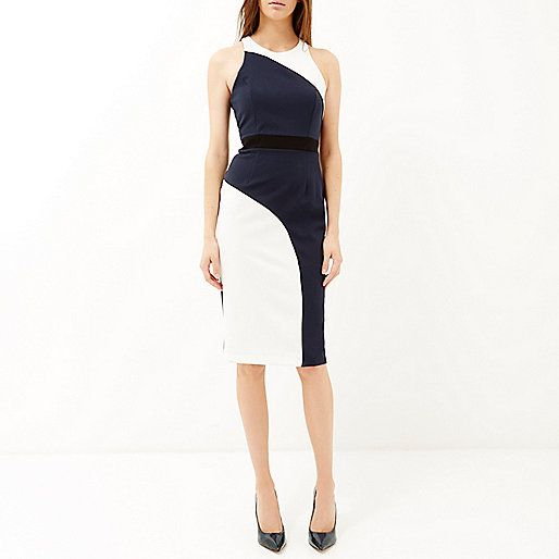 Navy curved bodycon sleeveless dress - bodycon dresses - dresses - women