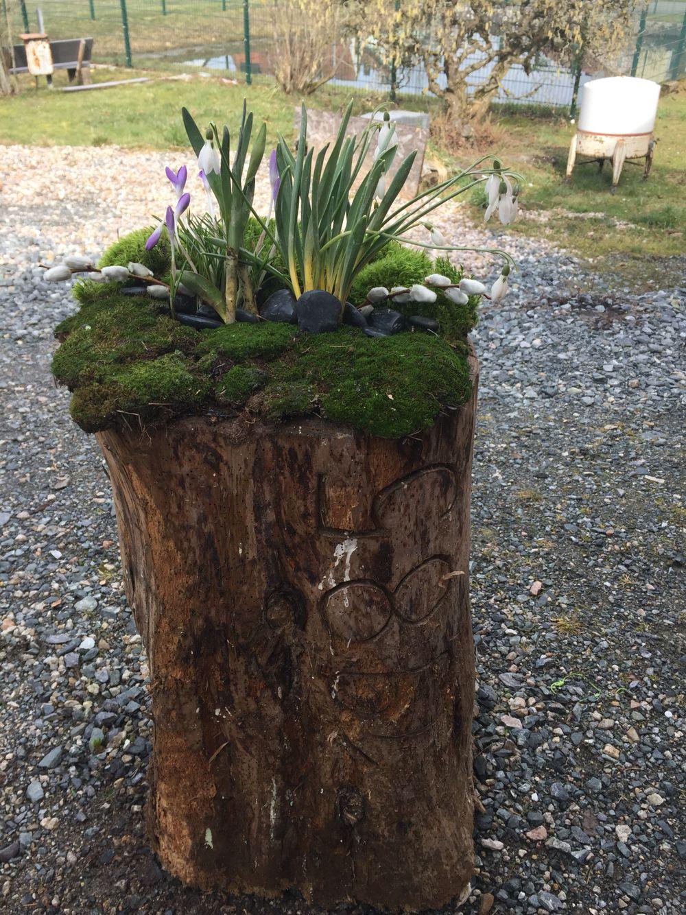 Frühlingsdeko, Osterdeko, Holzstamm, Schneeglöckchen #hausdekoeingangsbereichaussen