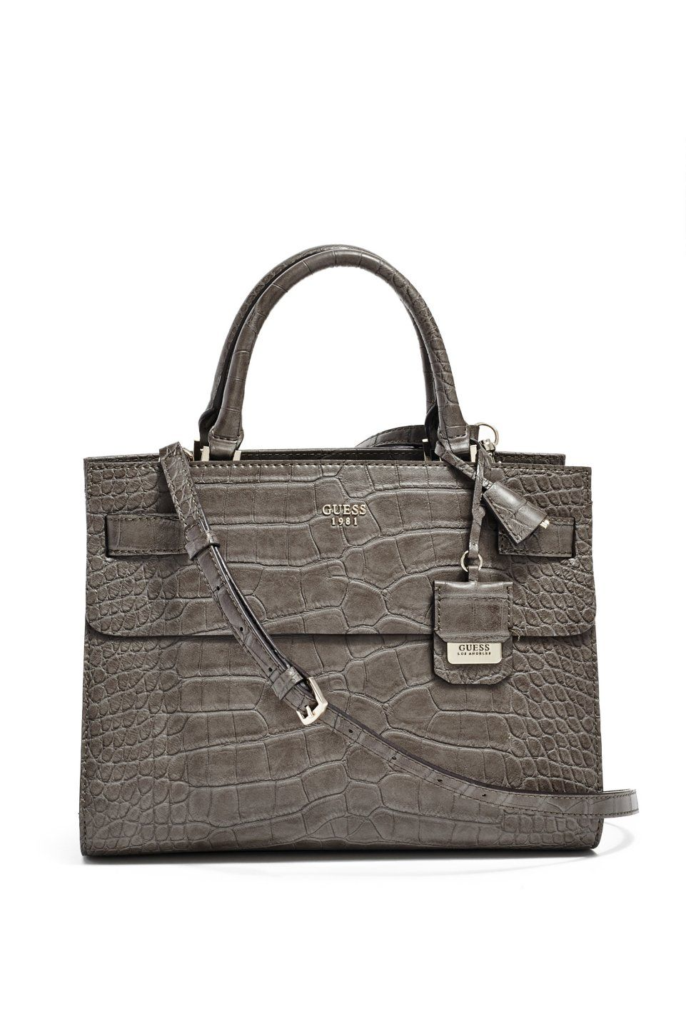 07027a32a81 For the Beauty  Cate Crocodile-Embossed Satchel   GUESS.com  GUESSHoliday