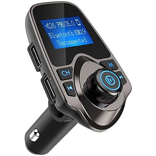 Nulaxy Bluetooth Car FM Transmitter Wireless Audio Adapter Receiver-KM22 Silver
