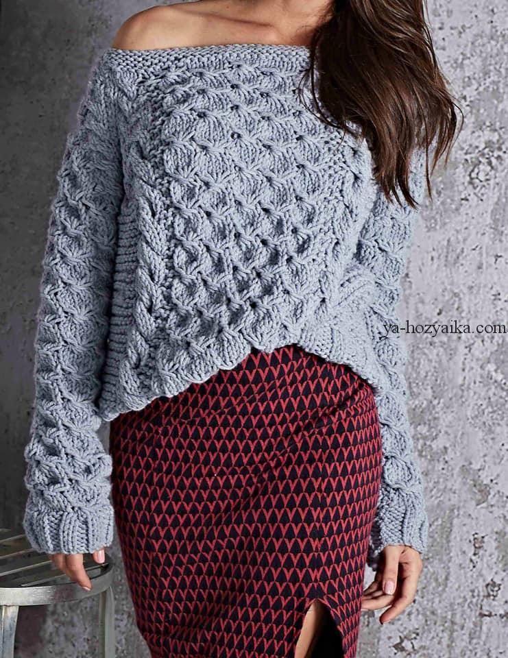 5f629bf2510 Модный пуловер объемным узором 2019. Модные свитера 2019 спицами схемы