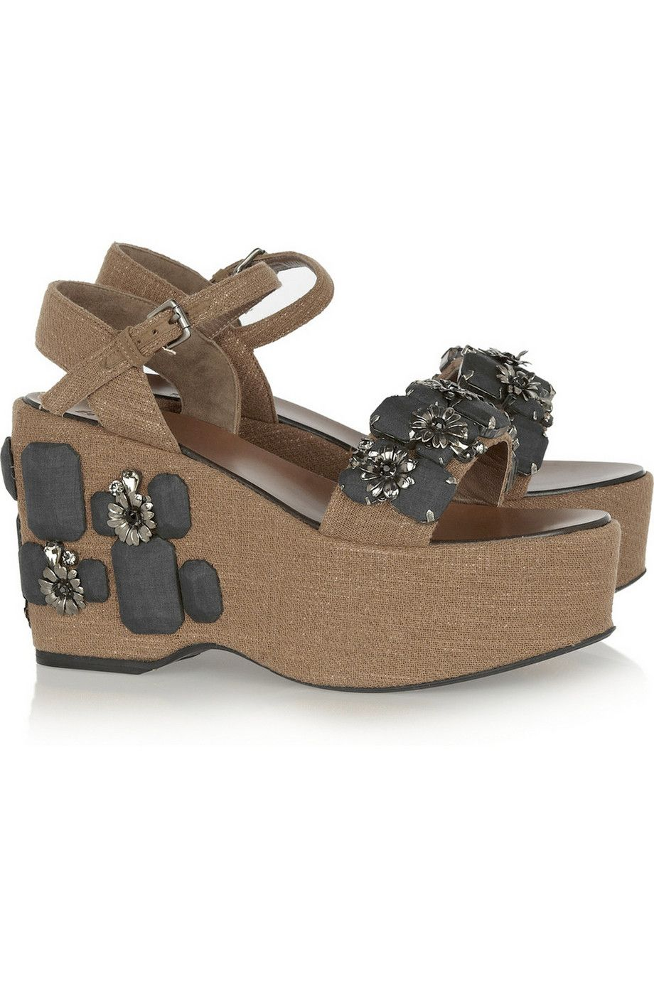 Covered wooden wedge sandals by Marni