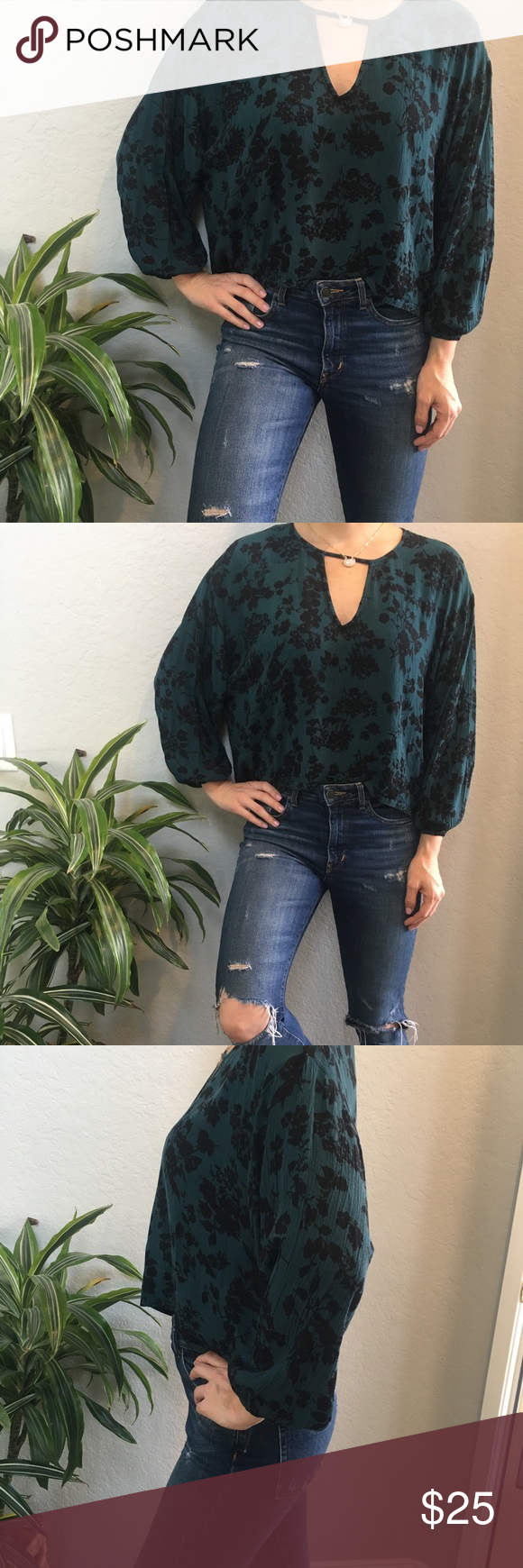 FLOWY FLORAL GREEN BLOUSE 😍 Sexy and classy. Easy to style, light weight and comfortable Tops Blouses