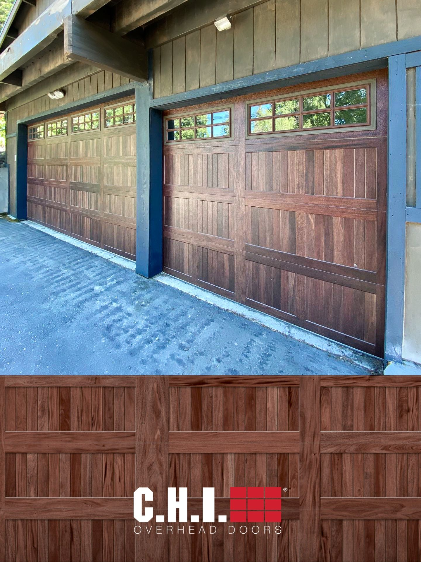 Stamped Carriage House Faux Wood Garage Doors On Mountain Home Exterior Refresh In 2020 Garage Doors Carriage Style Garage Doors Wood Garage Doors